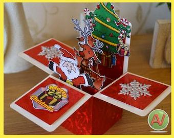 3D Christmas Box Card.