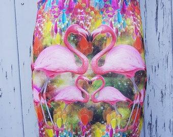 Diamond Flamingo Mini Skirt - Size 12 14 - Bodycon Galaxy Jewels Disco