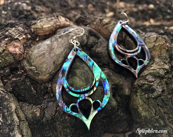 Abalone Tear Drop Earrings - Paua Shell Earrings