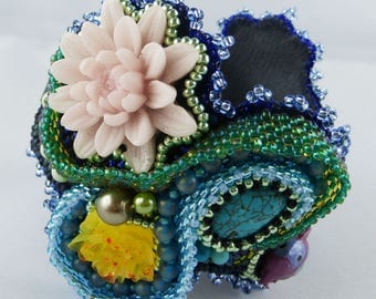 Bracelet, bangle, bead embroidery, resin