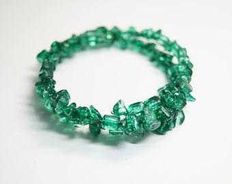 Bracelet Glassbeads Unique green