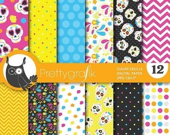 80% OFF SALE sugar skull digital paper, commercial use, scrapbook papers, background  - PS654