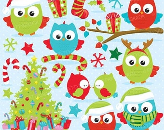 80% OFF SALE 80 Percent 0FF Sale Christmas owls clipart commercial use, christmas birds, owl vector graphics, digital clip art, digital imag