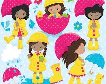 80% OFF SALE April showers clipart commercial use, rainy day vector graphics, april digital clip art, digital images - CL826