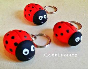 Ladybug Polymer Clay Keychain