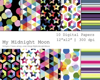 Rainbow Geometry Colorful Digital Paper Black and white background hexagonal and star Seamless Pattern for scrap wrap paper scrapbooking
