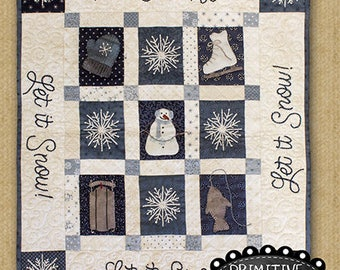Primitive Quilt Pattern - Winter Fun Appliqued Quilt Pattern