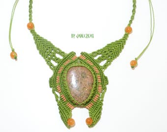 Necklace macrame and Pierre Fine Jasper - No. 0149 C.