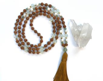 Mala,Beaded Necklace,Tassel Necklace,Gemstone, Crystal, Opalite, Rose Quartz, Aventurine, Amethyst, Purple, Green, Natural, Seed Bead, White