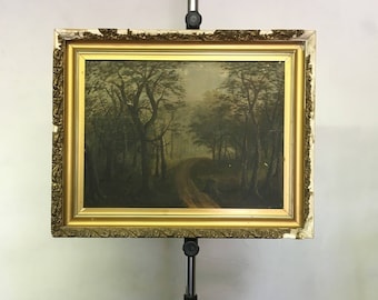 Antique 19th Century Original Oil Painting Trees Road Through a Forest