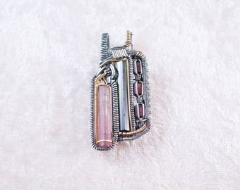 Pink & Green Tourmaline, Garnet Two-Toned Heady Wire Wrap Pendant