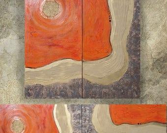 orange gold rusty metal Abstract Painting vertical textured wall art A113 Acrylic Original Contemporary Art KSAVERA mid century modern art