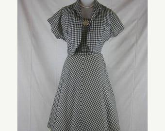 On sale Vtg 40s 50s Black White Vintage Plaid Full Skirt Daisies Daisy Party Dress Set