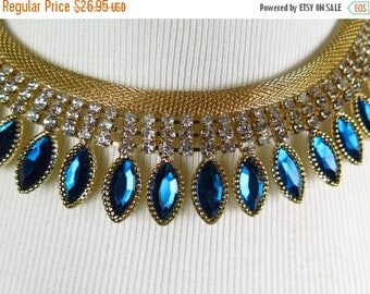 XMAS IN JULY Fabulous Vintage Teal and Clear Rhinestone Chocker, Lightweight Unique Necklace