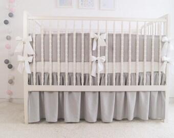 Gray Crib  bedding -  linen crib bedding - gathered skirt and 4 side bumper - gender neutral  crib bedding,