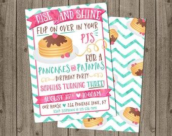 Pancakes and Pajamas Birthday Invite - Rise and Shine Pancake Party - Pancakes & PJs Birthday - 5x7 JPG DIGITAL FILE (Front and Back Design)