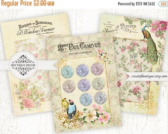 ON SALE Vintage Button Tags. Set of 3. Digital Collage Sheet. Printable download.