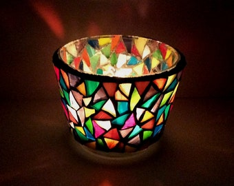mosaic tealight holder. colorful candle holder, stained glass tealight holder