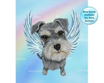 Schnauzer, Schnauzer Memorial, Schnauzer Angel, Schnauzer Art, Dog Angel, Pet Loss Gift, Miniature Schnauzer, Pet Memorial, Pet Lover