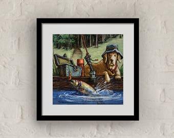 "Framed ""Gone Fishing"" Print Labrador Retriever Art 16""x16"""
