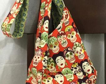 Crossbody hobo bag, day of the dead hobo bag, red folklorico crossbody hobo bag, skull bag