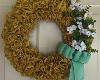 Yellow Burlap Wreath, Burlap Ruffle Wreath, Sunny Wreath, Spring Wreath