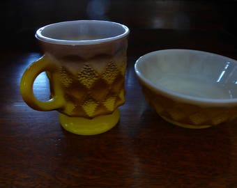 VIntage Set of Kimberly Anchor Hocking Fire King  MUG  and Matching Cereal Bowl Brown and Yellow 1960s