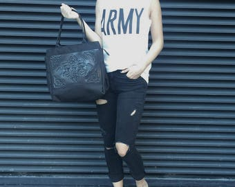 Black tote bag / non leather handbag / vegan bag / designer handbag / black PVC handbag / standout statement bag / Ornamentica print in PVC