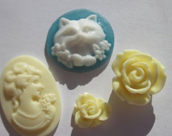 4 flowers and resin cameos in paste colors and shapes (AR33)
