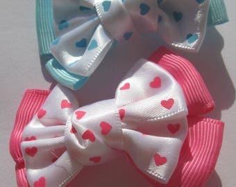 2 big heart (A237) design fabric bows