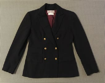1980's, double breasted, wool blazer, in navy, by Evan-Picone, Women's size Small/Medium