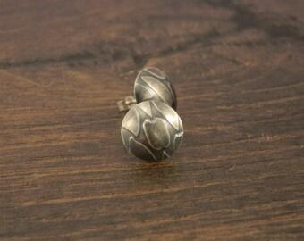Silver Stud Earrings - Textured Earrings - Silver Earrings - Stud Earrings - Silver - 925 - Oxidised - Handmade - UK