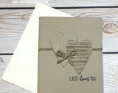 I Just Love You Greeting Card, Valentine's Day, Mother's Day, Anniversary, Kraft Hearts, Handmade Love Card, Stampin Up Card