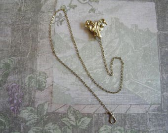 Antique Victorian Edwardian Ladies Watch Pin Filigree with Chain
