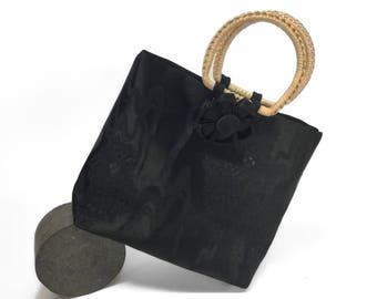 Black silk evening purse, vintage Japanese obi bag, retro bamboo cane handles, Kanzashi flower detachable  clip.
