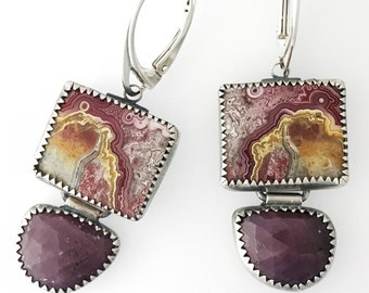 Sapphire and Lace Agate Earrings