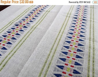 Summer sale -20% Woven Tablecloth. Linen tablecloth.Handmade tablecloth. Swedish tablecloth. Table decor.Swedish Vintage 1970s.