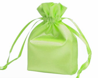 Large Apple Green Satin Gift Bag