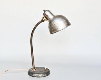 Vintage Bauhaus Desk Lamp / Table Light / Office Lamp / Keiser Idell Style / Silver