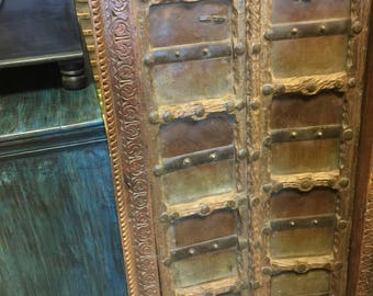 Antique Terrace Doors Hand Carved Teak Door with Iron Straps & Solid Frame Moroccan Mediterranean Interior Design FREE SHIP