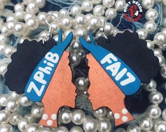 Zeta Phi Beta Sorority Inspired Earrings Girls Women Sisterhood National Panhellenic Greek Letters