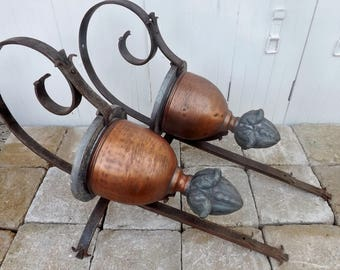 Original French sconces pair vintage copper and hand forged iron wall lights torch lights candle holders interior exterior designer lights