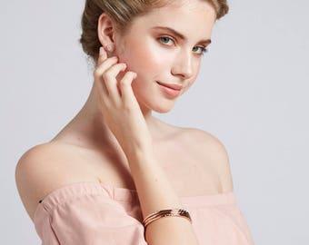 Rose Gold Bangles, Rose Gold Bracelet, Diamond Bracelet Rose Gold, Crystal Jewelry, Rose Gold Wedding, Bridal Shower Gift, PD