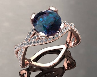 First of Six Equal Payments Alexandrite Engagement Ring Alexandrite Ring 14k Rose Gold SW4ALEXR