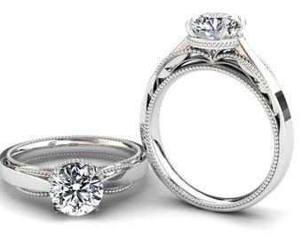 Forever One Moissanite Engagement Ring  1.00 Carat Forever One Moissanite Solitaire Ring In 14k or 18k White Gold SJW1MOISW
