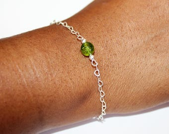 Peridot  Solitaire Bracelet Linked to Sterling Silver Heart Chain ~ August Birthstone ~ Bridesmaid's Gift ~ Gift for her