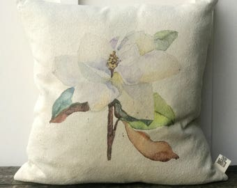 Famrhouse Pillow Cover, Watercolor Magnolia Grain sack Pillow Cover, Decorative Couch Pillow, Housewarming Gift, Wedding gift, Anniversary