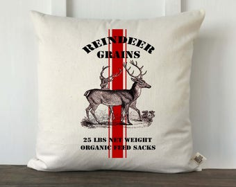 Christmas Reindeer Grain Sack Pillow, Farmhouse PIllow, Decorative PIllow, Custom Pillow Cover, Reindeer Grain Sack Stripe