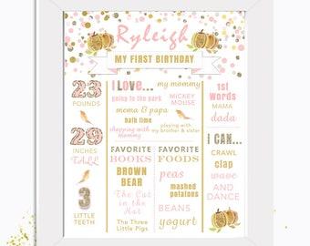 Gold & Glitter Little Pumpkin First Birthday Poster