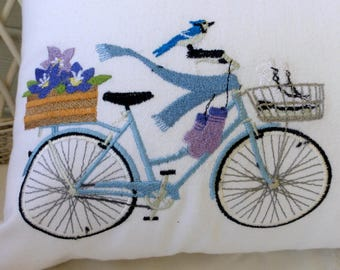 Seasonal Bicycle Pillow covers - Embroidered bicycle pillow - bike pillow covers - embroidered pillows - Accent pillows - bike pillows